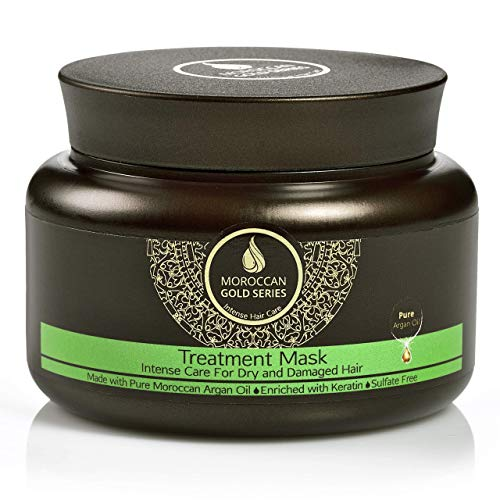 Moroccan Gold Series Treatment Mask – Deep Hydrating Argan Oil Hair Mask for Dry, Damaged, Color Treated and Curly Hair Enriched with Keratin – Sulfate Free Natural Hair Repair Treatment, 8.45oz