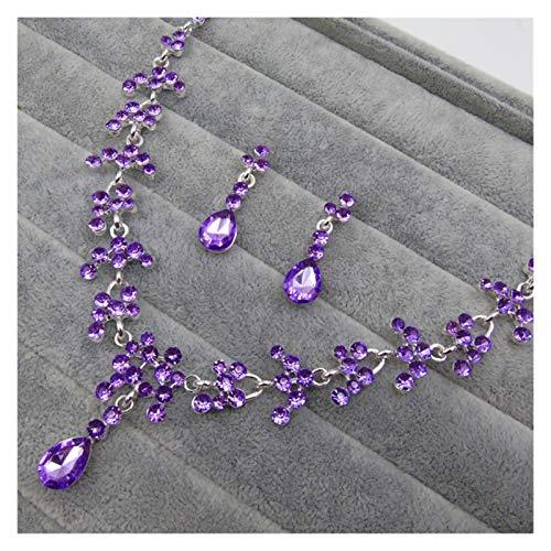 Without logo SFQRYP Accesorios de Boda Europeos y Americanos Boda Boda Brillante Flor Pendientes de Novia Collar Paquete de joyería Accesorios Femeninos (Color : Purple)