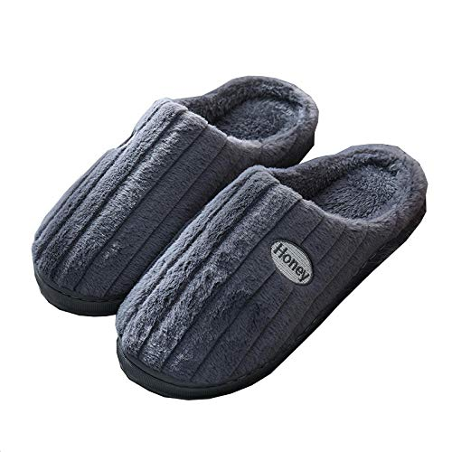KIKIGO Zapatillas viscoelasticas de casa,Zapatillas peludas para el hogar de otoño e Invierno, Forro cálido para el hogar, Zapatillas cómodas.-Gris_42