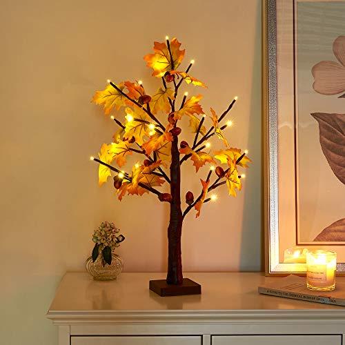Vanthylit Árbol de arce iluminado de 2 pies con 24 luces LED de color blanco cálido, hojas de arce de Acción de Gracias, decoración de árbol de otoño