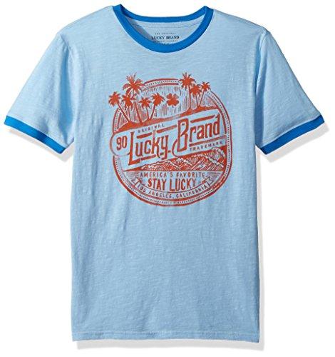 Lucky Brand Toddler Boys' Short Sleeve Classic Bear Tee Shirt, Placid Blue Ringer, 3T Blue Kids Ringer T-shirt