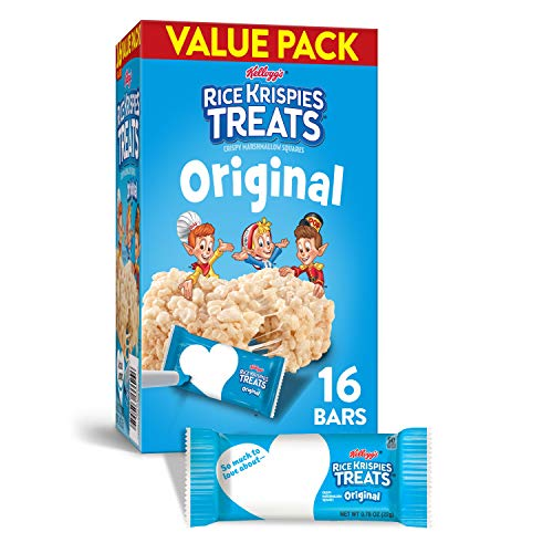 Kellogg's Rice Krispies Treats Original Marshmallow Bars - Classic Kid School Snack, Value Pack, Single Serve (16 Count)