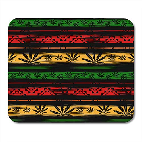 Tappetini per il Mouse Green Weed Abstract from Marijuana Cannabis on Rastafarian Colors Pattern Ganja Mouse pad 9.5' x 7.9' for Notebooks,Desktop Computers Accessories Mini Office Supplies Mouse Mats