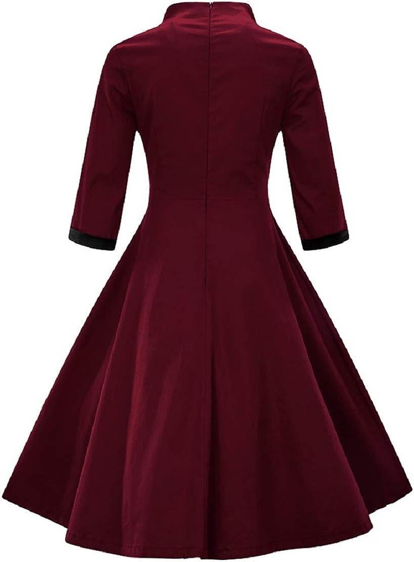 Christmas Print Dresses for Women 1950S Vintage Off Shoulder Party Swing Retro Hepburn Style Flare Dress