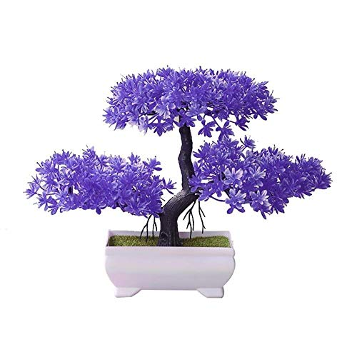 Bonsai artificial,Mini bonsai de plantas artificiales, simulación de bonsai de pino de bienvenida, no se desvaneció sin riego, simulación de plantas artificiales, decoración del hogar (color: violet