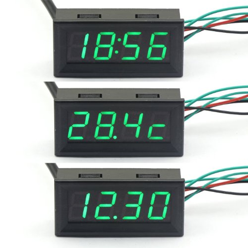 DROK® 12V Digital-Auto-Auto-Thermometer Voltmeter Zeit Test Voltage Meter Temperaturanzeige Grüne LED-Displays 3in1 Meter Volt Temp-Monitor