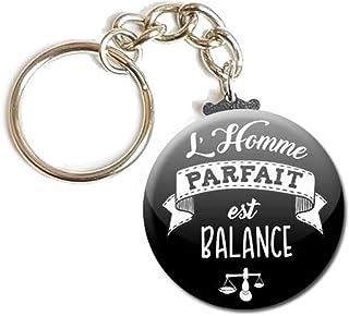 Porte Clés Chaînette 3,8 centimètres l' Homme Parfait est Balance Noir Idée Cadeau Accessoire Époux Conjoint Saint Valenti...