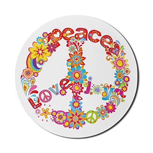 Ambesonne 70s Party Mouse Pad, Peace Sign with Colorful Flowers and Rainbows Love and Joy Composition, Rectangle Non-Slip Rubber Mousepad, Standard Size, Red Blue