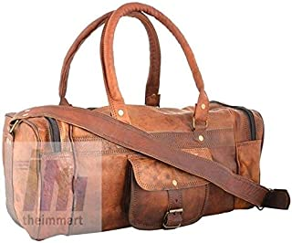 TUZECH Ultra Light and Cute Pure Hunter Leather Small Duffel Bag - 16 Inches