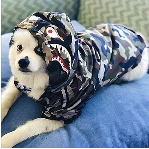 PUEKEO The Dog Face, modische Hundejacke, Polyester, Haustier-Outfits, niedliche Hunde-Dekoration, Mantel, Kleidung für Kostüm, Geburtstagsparty (Camouflage, 2XL)