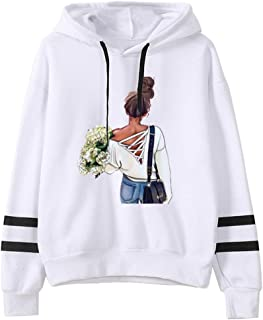 LOPELY Women's Stripe Long Sleeve Hoodie Sweatshirt Lady Print Baggy Hooded Top Ribbed Drawstring Soft Hoodie Ladies Hoody