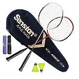 Senston - 2 Player Badminton Racket Set Badminton Racquets White Red
