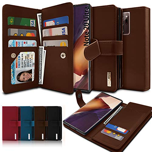 VVUPIC Brand Galaxy Note 20 Ultra Wallet Case, Luxury [Dual Flip] with Magnetic Closure, PU Leather, 11 Card Slot Included Convenient Dual Flip Cover Case - Brown