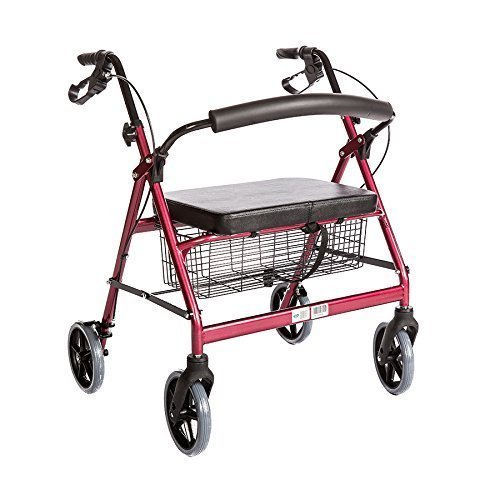 Bariatric Rollator Walker Heavy Duty with Large Padded Seat up to 400 Lb Capacity (Red)