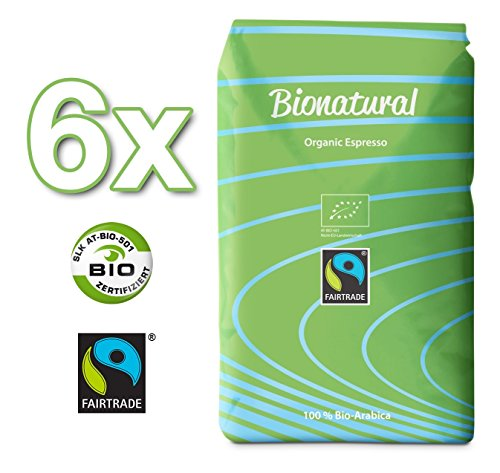 Bionatural Bio Fairtrade Kaffee-Espresso ganze Bohne by J. Hornig, 100 % Arabica - 6 x 1000 g