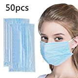 50 Pcs Disposable Face Masks - Disposable Surgical Mask Dust Breathable Earloop Antiviral Face Mask, Comfortable Medical Sanitary Surgical Mask Thick 3-Layer Masks