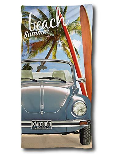 VW Käfer Handtuch 75x150 cm | VW Oldtimer Geschenke | VW Badetuch Ente Baumwolle | Camping Strandtuch Volkswagen T1 T2 T3