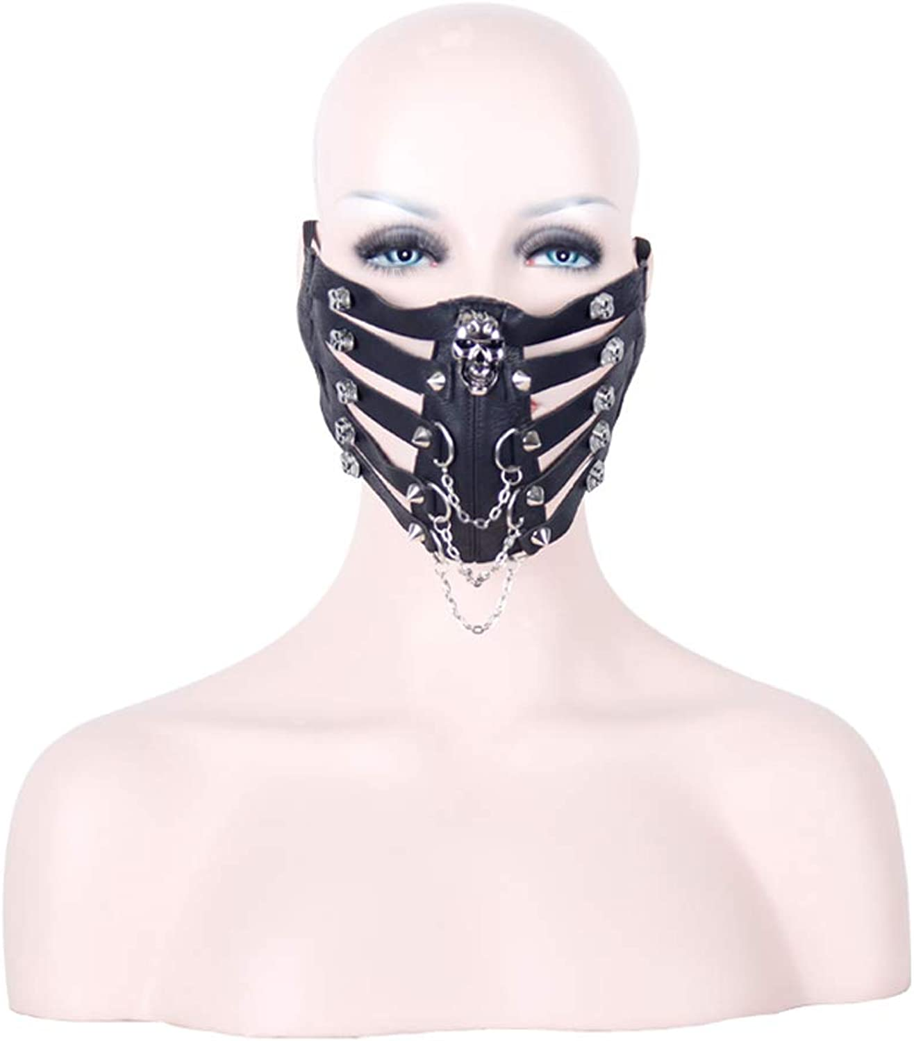 Halloween mask Costume Masquerade Party Skull Rock Stage Perform Punk Men Women Leather Mask Steampunk Skeleton Winter Half Face Mask Masquerade