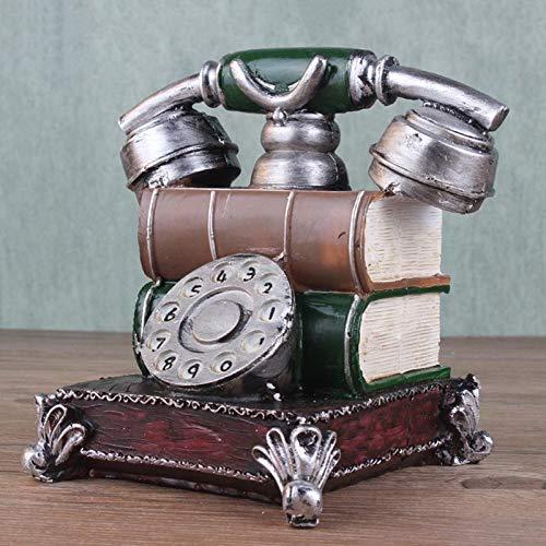 Klinkamz Retro Harz Telefonfigur Spardose Vintage Münzbank Handy Geburtstag Geschenk Kaffee Shop Dekor, grün