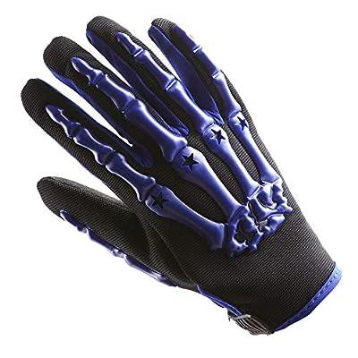 Youth Motocross Gloves Motorcycle BMX MX ATV Dirt Bike Bicycle Skeleton Cycling Kids Gloves Blue