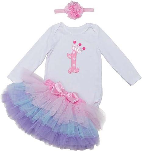 BabyPreg Baby M/ädchen mit Langen /Ärmeln 1 Geburtstag Tutu Outfit Kleid Stirnband