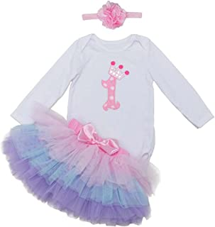 BabyPreg Baby Girl's It's My 1st Birthday Outfit Dress Long Sleeves Romper, Skirt with Headband