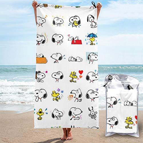 SJPillowcover Toalla de baño de secado rápido Snoopy para camping, senderismo, viajes, natación, peso ligero 27.5 x 55