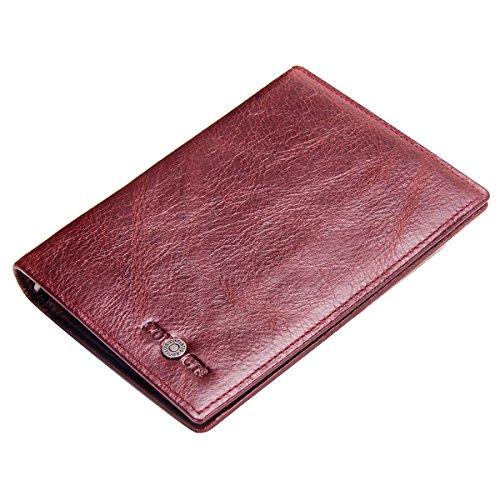 Contacts Damen Herren Echtes Leder Passport Inhaber Reise Reisepass Brieftasche (Rot)