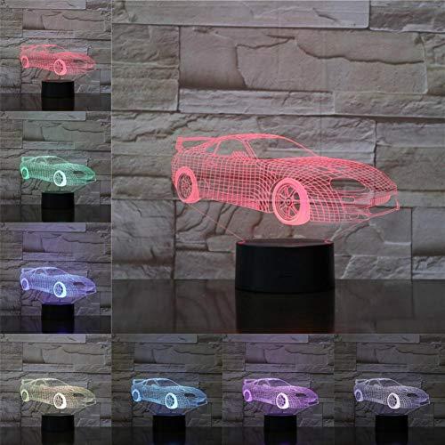 LPHMMD nachtlampje auto racesport 3D lamp RGB nachtlicht LED-lampen meerkleurig vakantie geschenken Kerstmis kinderen Touch Senor USB-accu
