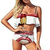 Bikini barras de labios y traje de baño de boca para mujer traje de baño de dos piezas Vacaciones cintura alta Volantes Halter Set