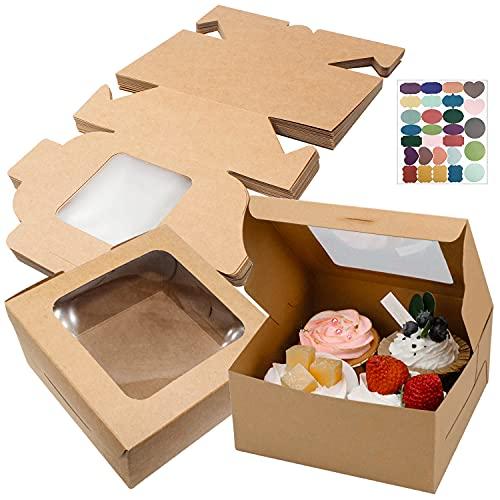 GIAK Scatole per Torta Catole per Dolci in Carta Kraft con Finestre Cupcake Box Scatola Biscotti 24 PCS per Biscotti, Torte, Regali Contenitori in Cartone per Alimenti