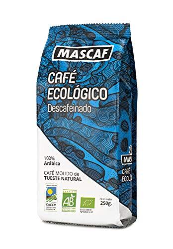 MASCAF Café Molido Ecológico - Tueste Natural, Descafeinado, Envase de 250 Gr.
