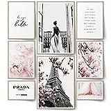 BLCKART Infinity Rose Love Poster Set Stilvolle Doppelseitige Rosa Bilder Blumen Wohnzimmer...
