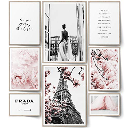 BLCKART Infinity Rose Love Poster Set Stilvolle Doppelseitige Rosa Bilder Blumen Wohnzimmer Schlafzimmer Büro Deko (L | 2X A3 | 4X A4 | 2X A5 | ohne Rahmen, Rose Love | 8er)