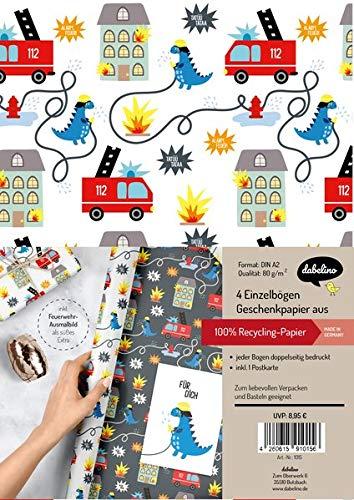 Geschenkpapier-Set für Kinder: Feuerwehr/ Dinosaurier: 4x Einzelbögen + 1x Postkarte