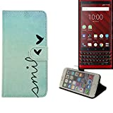 K-S-Trade® Schutzhülle Für BlackBerry KEY2 Red Edition Hülle Wallet Case Flip Cover Tasche Bookstyle Etui Handyhülle ''Smile'' Türkis Standfunktion Kameraschutz (1Stk)