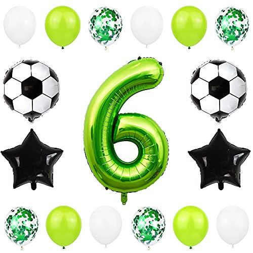Liitata Fußball Luftballon Set 6. Geburtstag Deko 40 Zoll Zahl 6 Folienballon Grün Fussball Ballon Stern Ballon Schwarz Konfetti Luftballons für Kinder Junge Geburtstag Party Fußball Party Deko