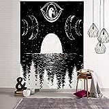 QAWD Tapiz de Sol y Luna en Blanco y Negro Mandala Tapiz de Encaje Colgante de Pared Decoración Bohemia Tapiz de brujería Hippie A1 100x150cm
