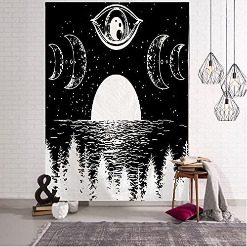QAWD Tapiz de Sol y Luna en Blanco y Negro Mandala Tapiz de Encaje Colgante de Pared Decoración Bohemia Tapiz de brujería Hippie A1 180x200cm