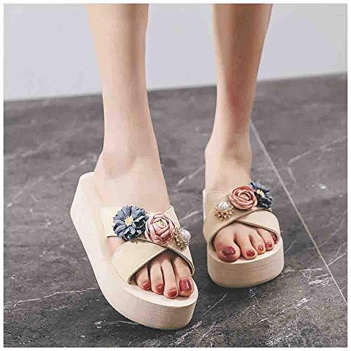 ZHIZI Chanclas Zapatillas para Mujer, Sandalias Planas de Verano de Punta Abierta Curvada, Flores Preciosas (Color : Yellow 1 Heel 5cm, Size : 42)