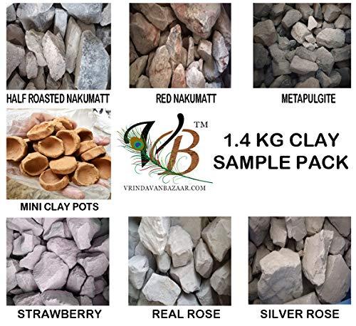 Colourful Shale Stones Mini Clay pots red slates Half Roasted nakumatt Pink Shale Blocks 1.4kg Clay Sample Pack VRINDAVANBAZAAR.COM White Think slates Dry Fruit Clay