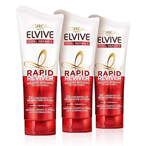 L'Oréal Paris Elvive Rapid Reviver Balsamo Intensivo Istantaneo Total Repair 5, Arricchito con Amminoacido e Vitamina E, per Capelli Danneggiati, Confezione da 3
