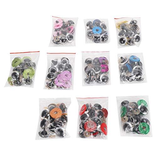 Atyhao Occhi di Sicurezza in plastica, 100 Set Occhi per Bambole Artigianali con rondelle Glitter per Pupazzo di Peluche Amigurumi e Orsacchiotto(16mm)