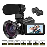 """Kenuo 4K Camcorder, 48MP Portable Ultra-HD 60FPS WiFi Digital Video Camera 3.0"""" Touch"""