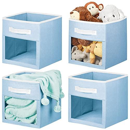 mDesign Caja organizadora de Tela – Contenedores de Tela para Ropa de bebé, Mantas, etc. – Organizador de Ropa Abierto con asa y Ventana Transparente – Juego de 4 – Azul/Blanco