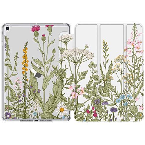 iPad 10.2 Hülle, 7. Generation iPad Hülle (2019) mit schönen Designs für Mädchen & Frauen, Slim Fit Smart Stand Cover für Apple iPad 7. Generation [Auto Sleep/Wake] Schöne Blumen Pink Lila