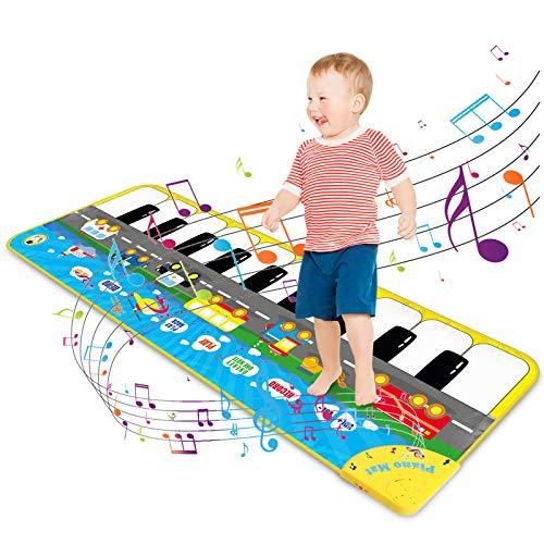 Magicfun Tapis de Piano pour Enfant, Tapis de Danse Musique Tapis de Jeu Musical Réglable avec 9 Sons de Véhicule, Cadeaux de Jouets Educatifs pour Bébé Garçons et Filles