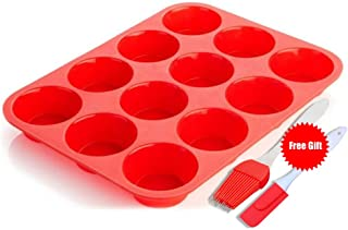 Silicone Muffin Pan Silicone Cupcake Baking Cups, 12 Non Stick Silicone Molds for Muffin Tins(Red)