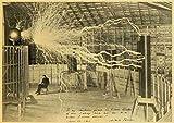 Vintage-Poster und Drucke, Motiv: Nikola Tesla Spule
