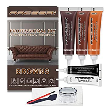Brown Leather Repair Kits for Couches - Vinyl and Leather Repair Kit -Leather Paint- Leather Scratch Tears & Burn Holes Repair for Refurbishing Upholstery Couch Boat Car Seats - Leather Dye Brown